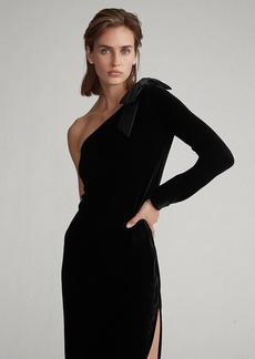 Ralph Lauren Bow-Brooch Velvet Dress