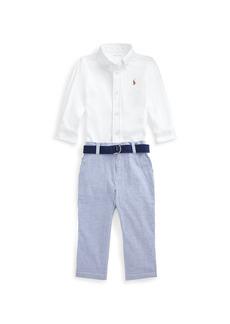 Ralph Lauren Boy's Button-Down Shirt w/ Seersucker Pants, Size 6-24M