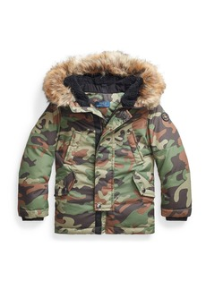 Ralph Lauren Boy's Camouflage Faux-Fur Hooded Puffer Coat, Size 2-4