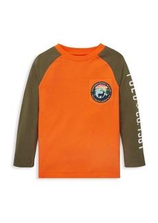 Ralph Lauren Boy's Colorblock Patch Raglan-Sleeve T-Shirt