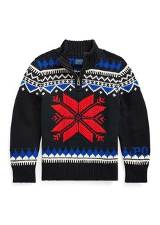 Ralph Lauren Boy's Fair Isle Knit Quarter-Zip Sweater  Size 5-7
