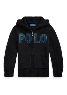 Ralph Lauren Boy's Knit Hooded Sweater Jacket w/ Silicone Patches  Size 5-7