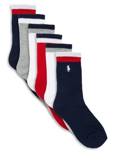 Ralph Lauren Boy's Six Pack Track Sport Crew Socks