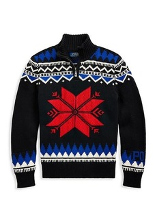 Ralph Lauren Boy's Snowflake Pattern Merino Wool-Blend Zip Sweater