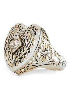Ralph Lauren Brass Filigree Heart Ring