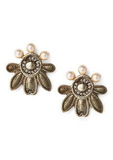 Ralph Lauren Brass Lace Stud Earrings