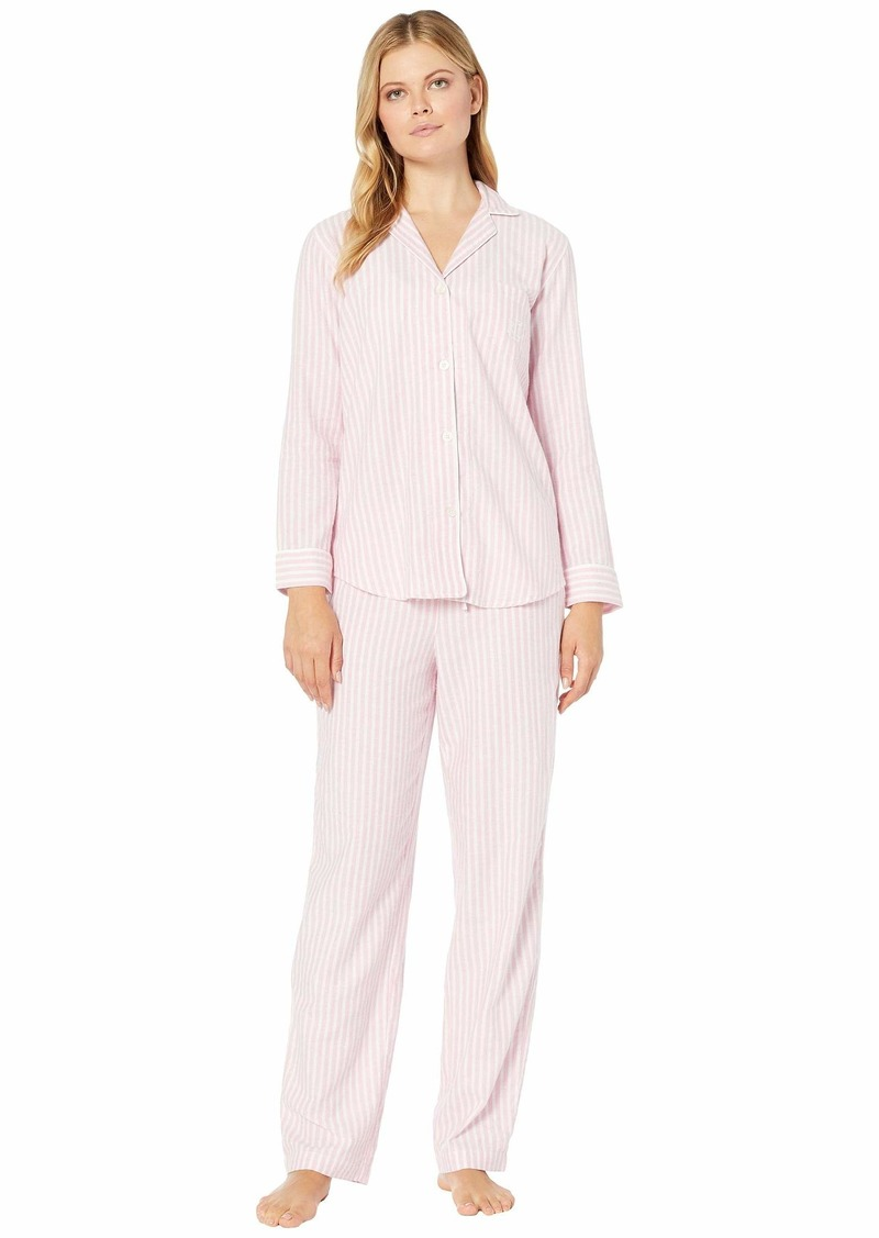 Ralph Lauren Brushed Herringbone Pointed Notch Collar Long Pants PJ Set