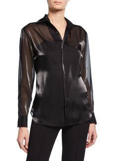 Ralph Lauren Bryson Iridescent Chiffon Button-Front Shirt