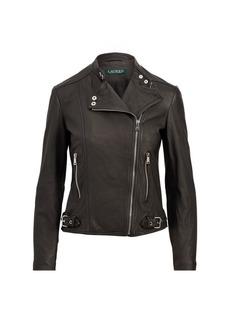 Ralph Lauren Burnished Leather Biker Jacket