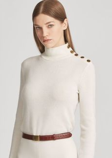 Ralph Lauren Button Cashmere Turtleneck