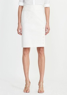 Button-Placket Pencil Skirt