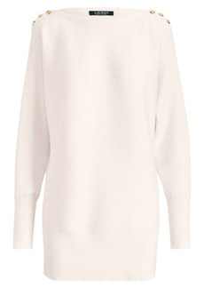 Ralph Lauren Button-Shoulder Cotton Sweater