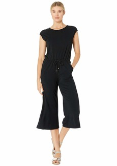 Ralph Lauren Button-Shoulder Easy Stretch Jumpsuit