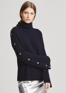 Ralph Lauren Button-Sleeve Cashmere Sweater