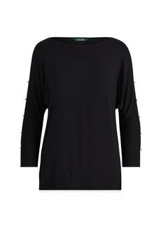 Ralph Lauren Button-Sleeve Jersey Top