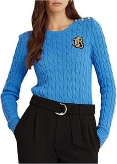 Ralph Lauren Button-Trim Cable-Knit Sweater