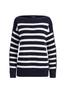 Ralph Lauren Button-Trim Cotton Sweater