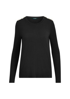 Ralph Lauren Button-Trim Jersey Top