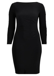 Ralph Lauren Button-Trim Matte Jersey Dress
