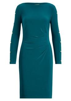 Ralph Lauren Button-Trim Matte Jersey Dress