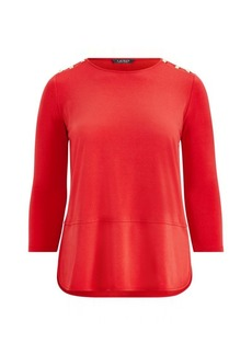Ralph Lauren Button-Trim Matte Jersey Top
