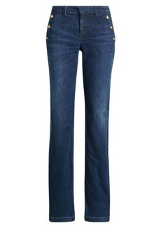 Ralph Lauren Button-Trim Straight-Leg Jean