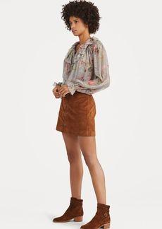 Ralph Lauren Buttoned Suede Miniskirt