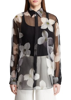Ralph Lauren Caley Embellished Floral Sequin Shirt