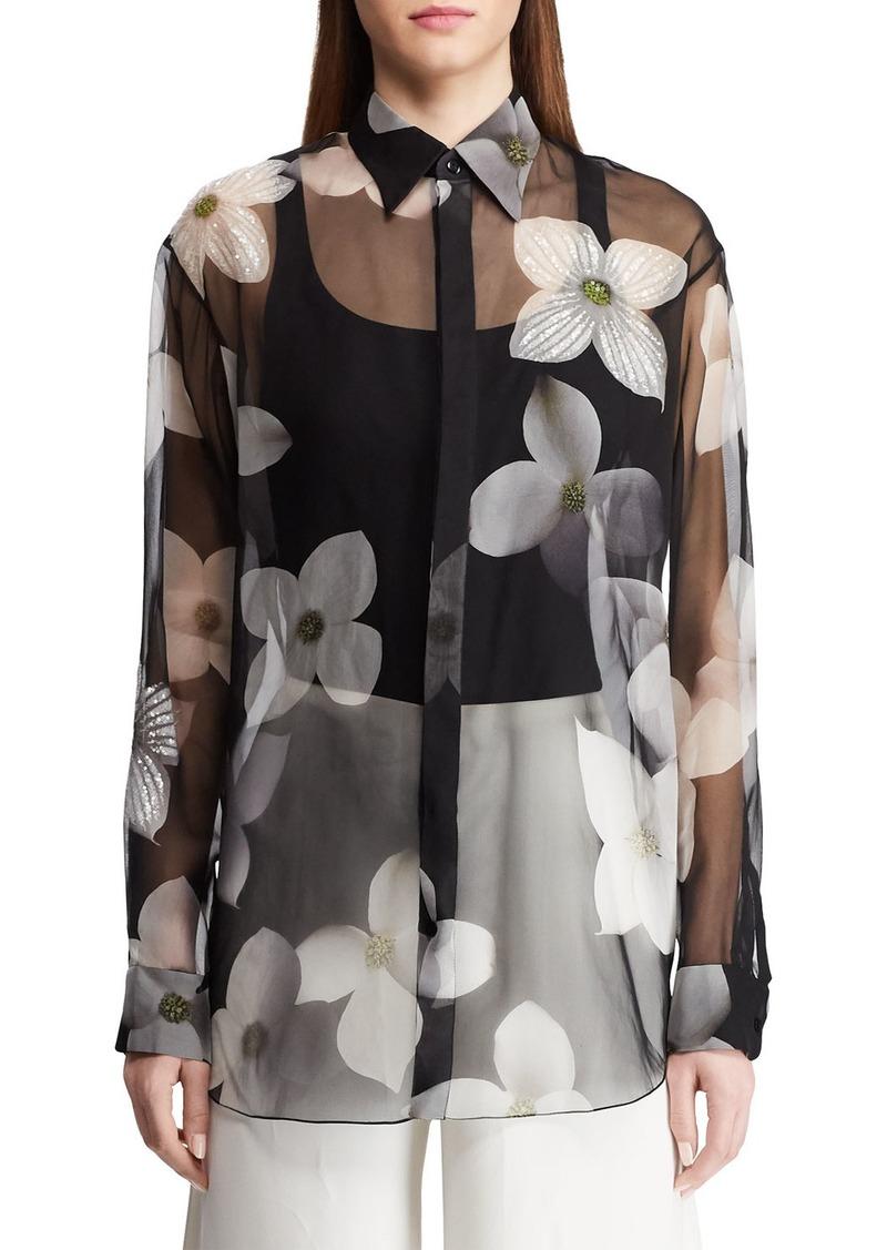 Ralph Lauren Caley Embellished Floral Sequin Shirt