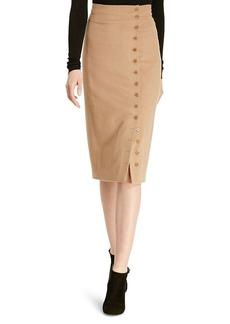 Camel-Hair Button-Front Skirt