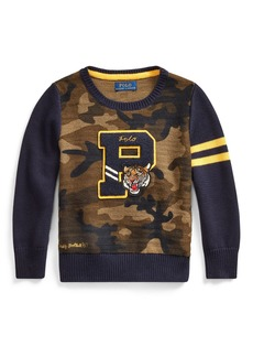 Ralph Lauren Camo Letterman-Style Sweater  Size 2-4
