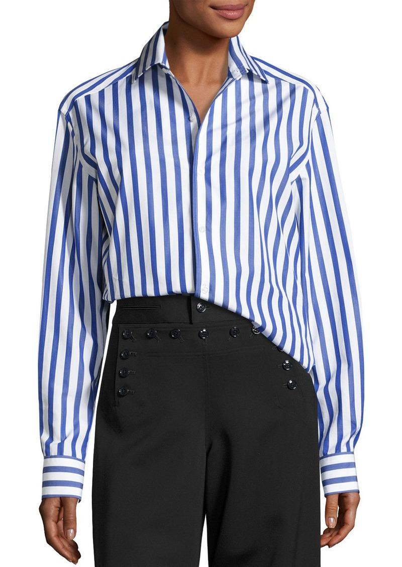 Ralph Lauren Capri Striped Cotton Blouse  White