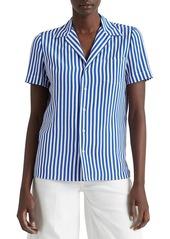 Ralph Lauren Carney Striped Silk Short-Sleeve Shirt