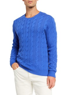 Ralph Lauren Cashmere Cable-Knit Crewneck Sweater  Blue