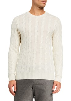 Ralph Lauren Cashmere Cable-Knit Crewneck Sweater  Cream