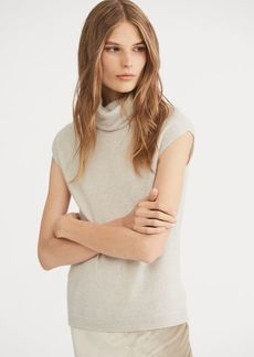 Ralph Lauren Cashmere Cap-Sleeve Turtleneck
