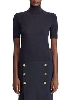 Ralph Lauren Cashmere Short-Sleeve Turtleneck Sweater