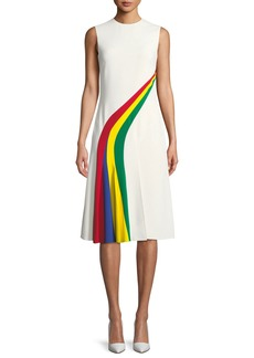 Ralph Lauren Celesse Sleeveless Rainbow Stripe Fit-and-Flare Dress