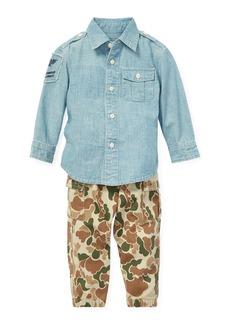 Ralph Lauren Chambray Button-Down Top w/ Camo Cargo Pants  Size 6-24 Months