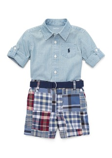 Ralph Lauren Chambray Shirt w/ Patchwork Shorts