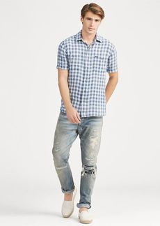 Ralph Lauren Classic Fit Plaid Linen Shirt