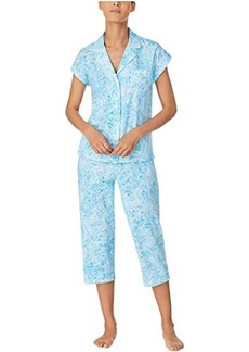 Ralph Lauren Classic Knits Dolman Sleeve Notch Collar Capri Pants Pajama Set