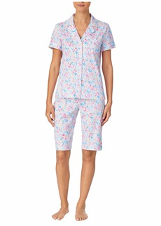 Ralph Lauren Classic Knits Short Sleeve Notch Collar Bermuda Pajama Set