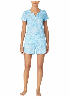 Ralph Lauren Classic Knits Short Sleeve Split Neckline Boxer Pajama Set