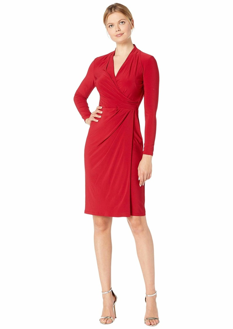 Ralph Lauren Classic Matte Jersey Faria Long Sleeve Day Dress