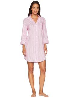 Ralph Lauren Classic Woven 3/4 Sleeve Pointed Notch Collar Sleepshirt