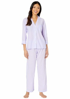 Ralph Lauren Classic Wovens 3/4 Sleeve Pointed Notch Collar Long Pants Pajama Set