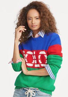 Ralph Lauren Color-Blocked Cotton Sweater