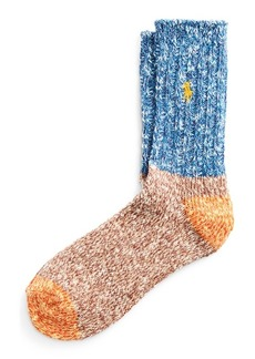 Ralph Lauren Color-Blocked Knit Crew Socks