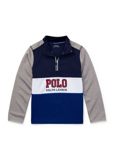 Ralph Lauren Colorblock Logo Half-Zip Knit Top  Size 5-7